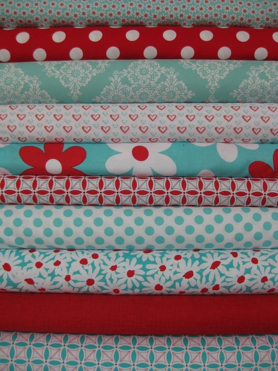 Fabricworm Custom Bundle, Sweet Heart 10 Total.  My new favorite color combination...red & turquoise.  Who knew?!?!?!?!?