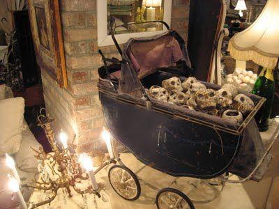vintage baby carriage full of skulls - so creepy!