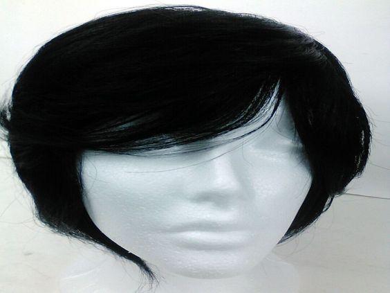 Yaki human Hair Handmade Wig layered bob ajustable cap sewing wig 1b #Shortlayered