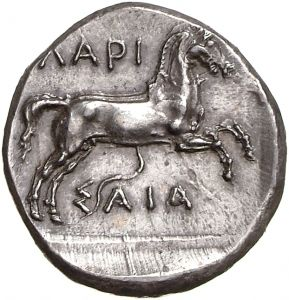 Dracma - argento - Larissa, Tessaglia, Grecia (430-400 a.C.) - ΛΑΡΙ/Σ-ΑΙΑ puledro in corsa vs.dx. - Münzkabinett Berlin