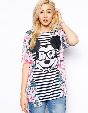 Image 1 ofASOS Tunic with Mickey Mouse Floral Print