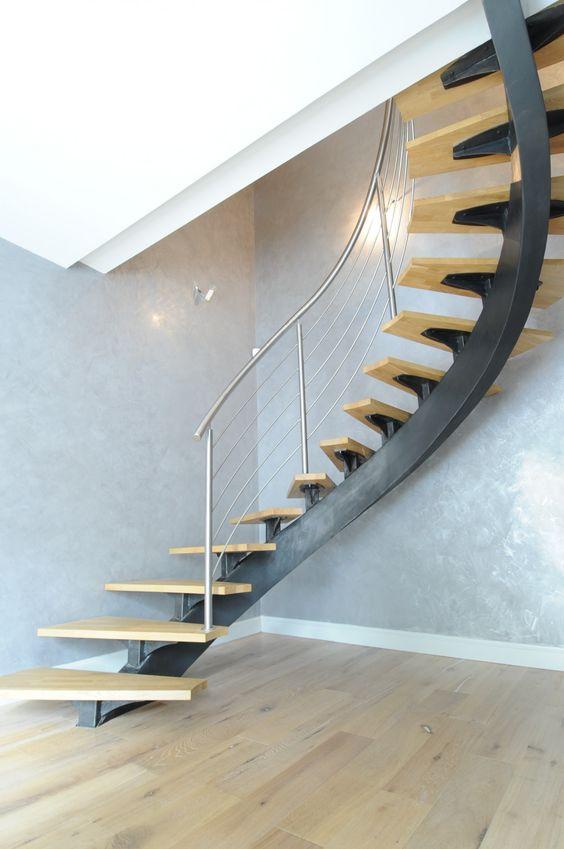 Escalier escalier limon central acier elliptique marche h tre rampe inox st - Escalier central maison ...