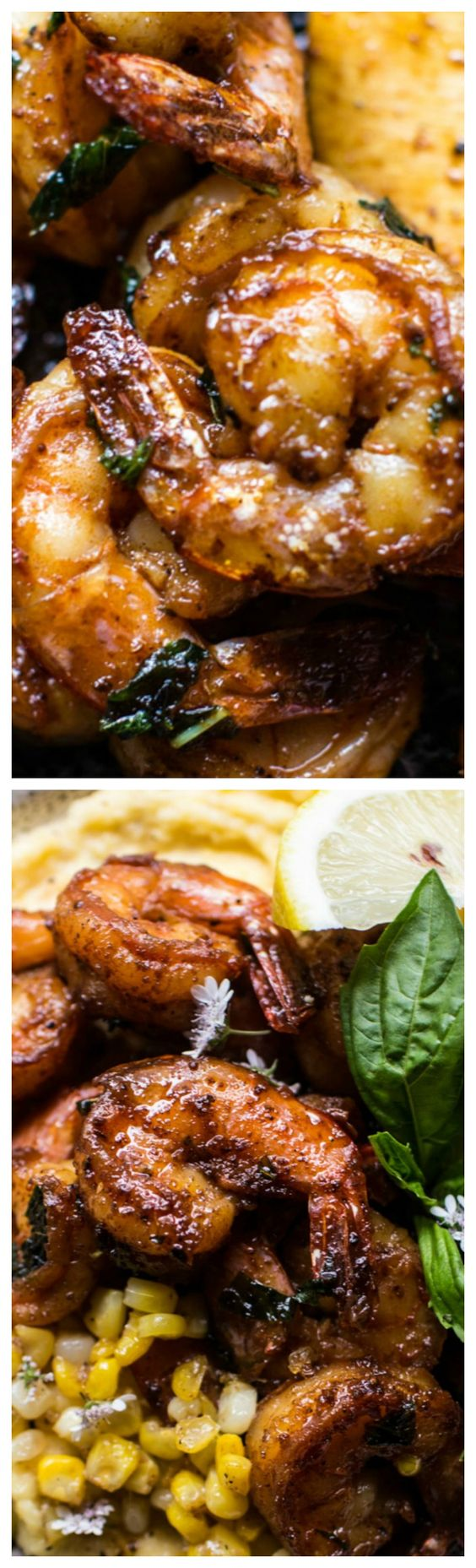 Cajun Garlic Lemon Butter Shrimp with Caramelized Corn Polenta ~ Totally delish!