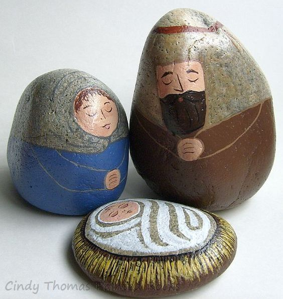 Natural Bluebell Painted Rocks Nativity Set by Cindy Thomas: