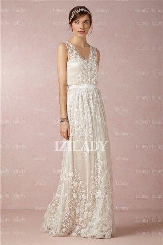A-Line/Princess V-neck Floor-length Chiffon Wedding Dress By Izilady - Get #Discount via #Coupons And #Promo Codes