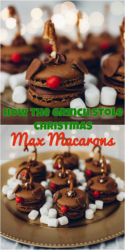 Peppermint Chocolate Macarons inspired by the Grinch's canine sidekick- Max.