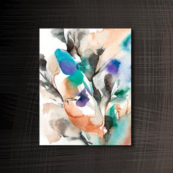 Impresión del arte abstracto, arte moderno pared acuarela, acuarela, acuarela Floral, impresión