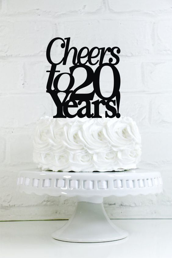 Cheers To 20 Years 20th Anniversary Or Birthday Cake