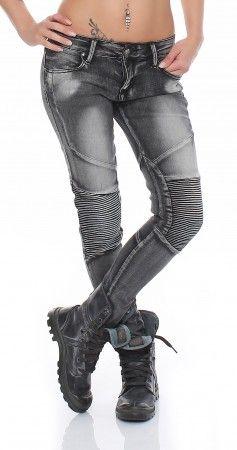 SKUTARI Luxus Damen Zip Denim Stretch Biker Jeans Reißverschluss am Beinabschluss mit Steppungen Biesen abgesteppte Falten am Knie Stretch Skinny