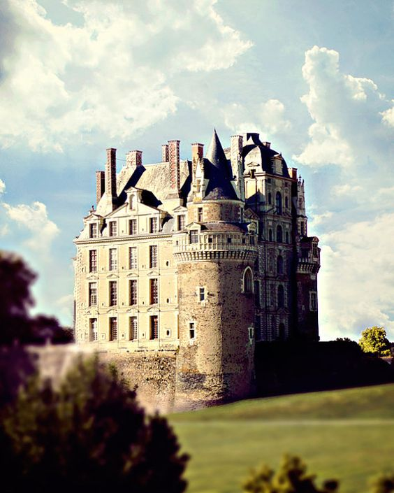 French Castle Photo - Loire Valley, France - 8x10 Photo Print, Fairytale, Dreamy, Clouds, Sky, Architecture, Old World, Landscape, Palace
