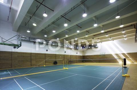 Design Of Indoors Badminton Court In Modern Gym Stock Photos Ad Badminton Court Design Indoors Badminton Court Badminton Design