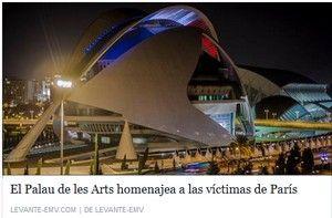 . Cette photographie du Palais des Arts de Valence illuminé des feux tricolores témoigne à sa manière de la solidarité qui s'exprime. Espagnol - Académie de Rouen - 13 novembre 2015