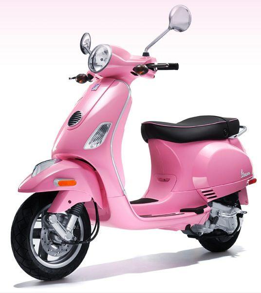 I drive a pink Vespa LX 50 scooter.  I LOVE IT!