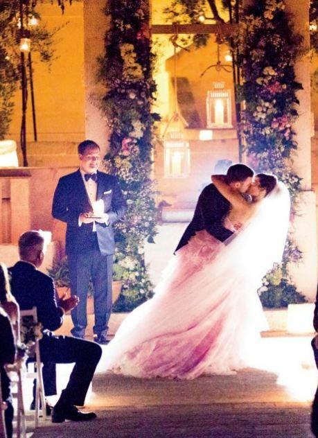 jessica biel pink wedding dress!