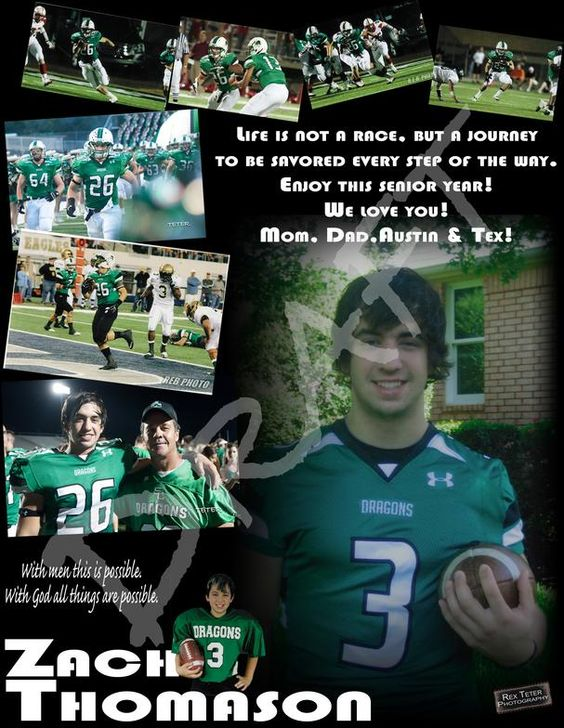 Zach thomason ad 3 607 784 graduation pinterest for High school football program template