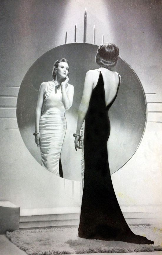 Statuesque model with pageboy hairstyle in vintage Vogue 1938: