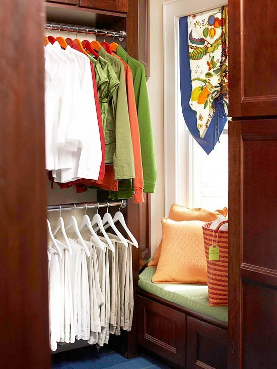 A window seat in my small walk in closet would serve as a great storage area for all my flip flops