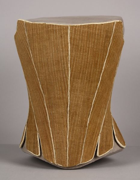 date made 1770 description corset stays the term corset wasnt used until homespun light brown linen fully boned fabric eyelets whalebone stays brown linen fabric lighting