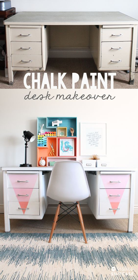 Update a vintage desk with Chalky Finish Paint via sisterssuitcaseblog.com #chalkyfinish