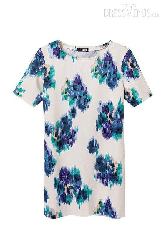 #Sleeves #Day #Flowers Premier Flowers Print Short Sleeves Women Dress
