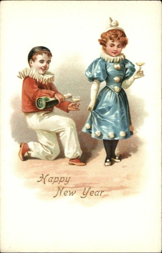 New Year Greeting Children as Clowns c1900 Old Postcard