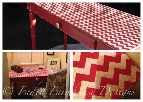 Chevron pattern desk. Mixed with oops paint from Home Depot and Websters. With Jacobean finish.