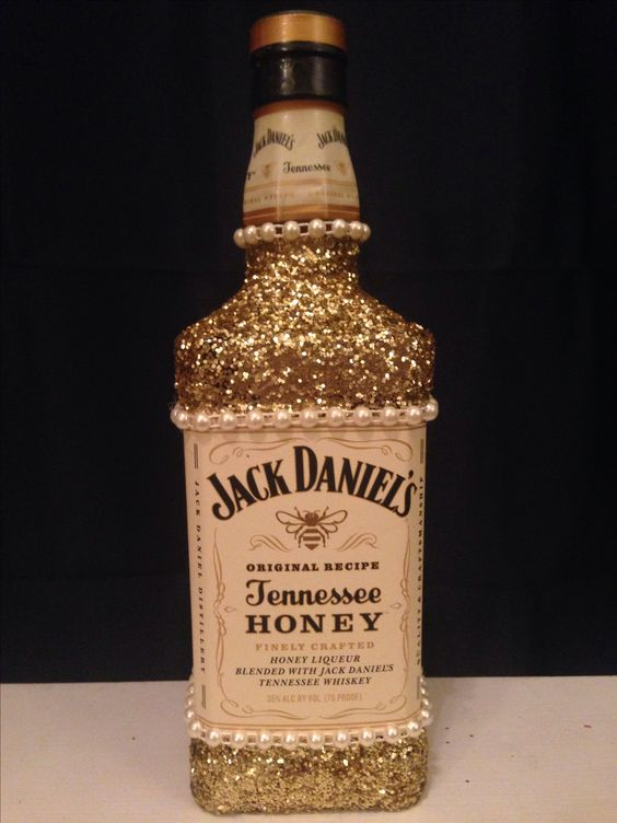 glitter alcohol bottle I made for my friend's 21st birthday