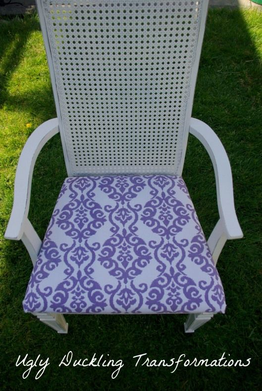 Re-upholstered Cane Chair by Ugly Duckling Transformations