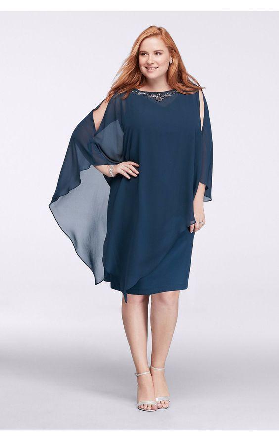 Modern Beaded Neckline Short Chiffon Caplet Dress 614885DW