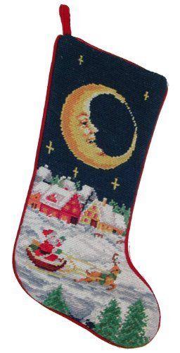 Santa Under the Moon and Stars Needlepoint Christmas Stocking