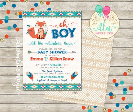 tribal baby shower, baby boy shower invitation, fox invitation, Baby shower invitations