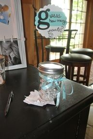 Cute, easy game! Guess how many pearls are in the jar  win a prize Breakfast at Tiffanys Wedding Shower