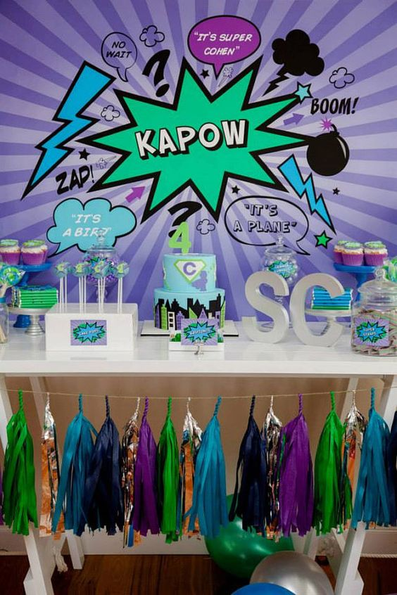 KAPOW Printable Party Collection for a Superhero / Villan themed Party / Purple Green and Blue / Superhero Birthday Party / Kids Parties / Stationery / Jo Studio for a Superhero Party by JoStudioPartyPaperie styling by Lola and Co Party Styling