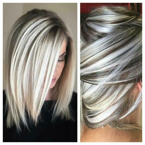 I love this type of hair color! This is exactly how I want my hair colored... Short hair gray n blonde  #blonde #color #colored #exactly #short Short Hair Colors
