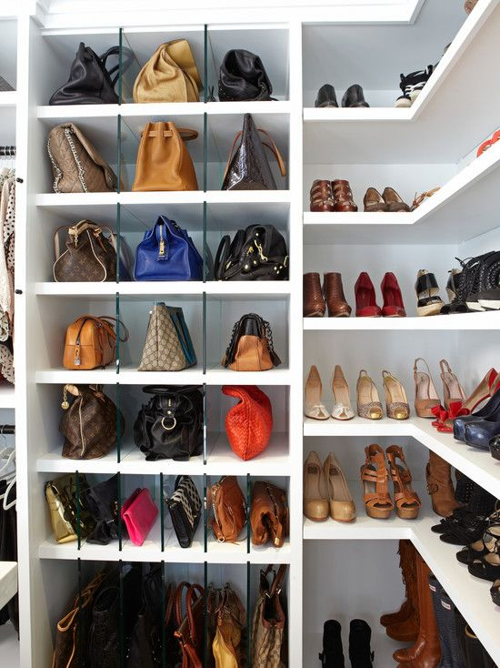 Luv this - glass makes it lighter   LA Closet Design - closets purse shelving, purse storage, shoe storage,  glass divided purse storage,