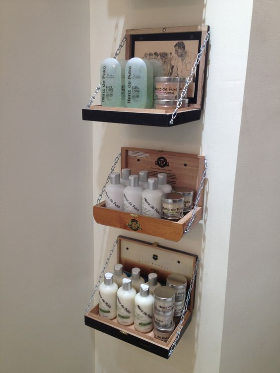 @Salon Eco Chic we use old cigar boxes for our hairstyling products... Eco Friendly...