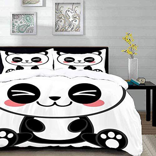 Parure De Lit Adultehousse De Couetteanime Dessin Anime Mignon Souriant Panda Fun Theme Animal Manga Japonais Enfants Parure De Lit Animaux Manga Dessin Anime