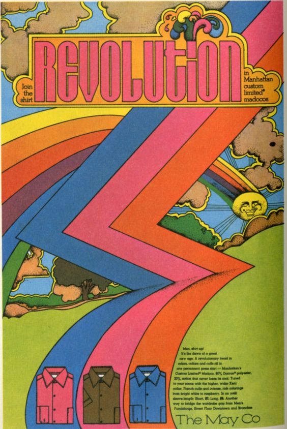 Revolution - The May Co ( shirt / vintage advertisement rainbow / psychedelic / 60's / 70's / retro vintage ad / revolution )