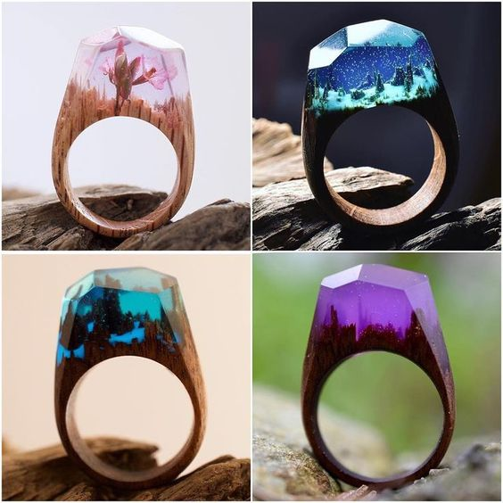 Wood And Resin Rings Handmade By Secretwood Resin Jewelry - Inside each of these wooden rings is a beautiful hidden world
