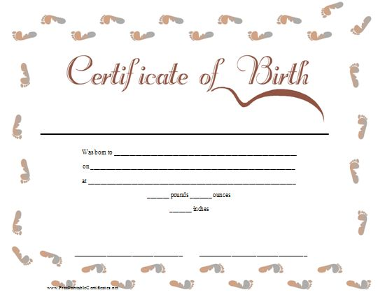 A pink and blue printable birth certificate bordered in baby – Baby Birth Certificate Template