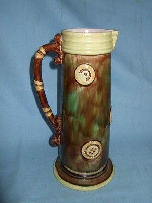 """Antique English Arts Crafts Majolica 10 5"""" Jug"""