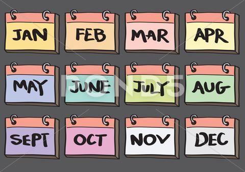 12 month calendar cartoon vector icon set stock illustration ad calendar cartoon month vector birth month birthday month 12 month calendar month calendar cartoon vector icon set
