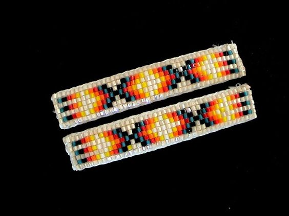 Auth.Native American Indian Glass Hex Beaded Pair Hair Barrettes