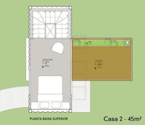 No piso superior, o dormitório tem saída para o terraço, com área de 20 m².