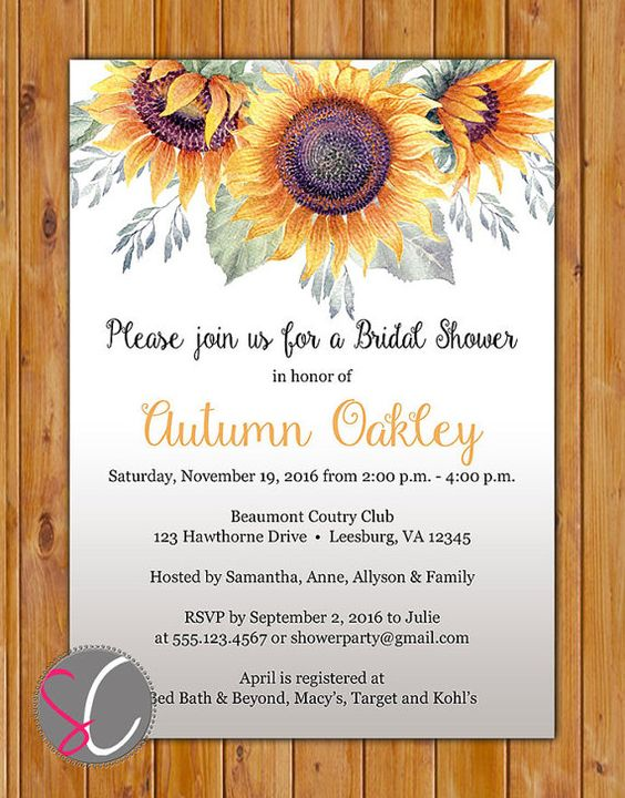 Sunflowers Bridal Shower Invitation Country Autumn by scadesigns