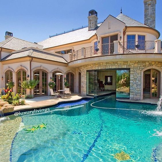 Mansion Houses With Pools: Please Tell Me That Is A Slider Under The House With