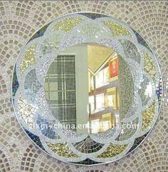 Blossom Shape Frame Mosaic Mirror Home Decor #vintagemaya #mosaic #handcraft #blossom shape mosaic #mirror #home decor