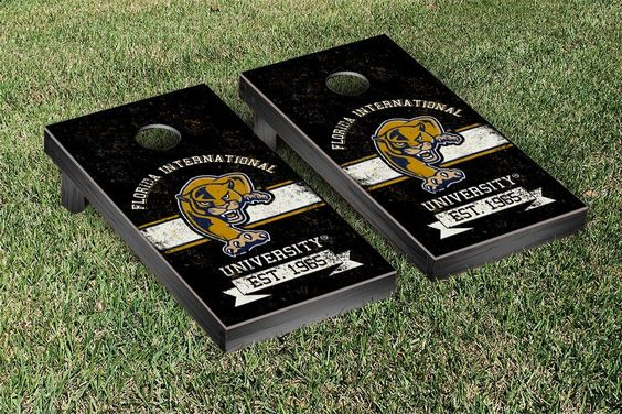 FIU Golden Panthers Rustic Established Banner Cornhole Game