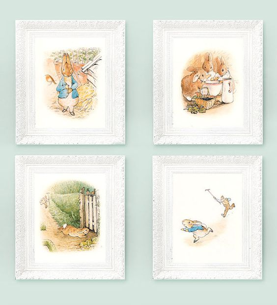 4 vintage peter rabbit prints beatrix potter prints - Peter rabbit nursery border ...