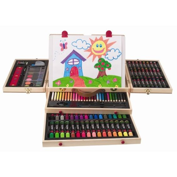 The 113-piece ALEX Art Box set is loaded with a colorful assortment of arts and crafts accessories that includes 32 fine tip markers, 28 colored pencils, 24 oil pastels, 20 crayons, 12 watercolors, two drawing pencils, a ruler, an eraser, a pencil sharpener, a fold-out drawing board and two easel clips. www.rightstart.com $59.99: